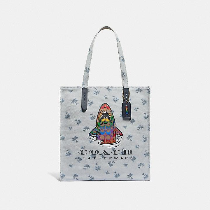 """<p>I love designs with some humor in them, like this <a href=""""https://www.popsugar.com/buy/Coach-Tote-Rainbow-Signature-Sharky-588093?p_name=Coach%20Tote%20With%20Rainbow%20Signature%20Sharky&retailer=coach.com&pid=588093&price=150&evar1=fab%3Aus&evar9=47606849&evar98=https%3A%2F%2Fwww.popsugar.com%2Ffashion%2Fphoto-gallery%2F47606849%2Fimage%2F47606962%2FCoach-Tote-With-Rainbow-Signature-Sharky&list1=shopping%2Ceditors%20pick%2Csummer%20fashion%2Cfashion%20shopping&prop13=mobile&pdata=1"""" class=""""link rapid-noclick-resp"""" rel=""""nofollow noopener"""" target=""""_blank"""" data-ylk=""""slk:Coach Tote With Rainbow Signature Sharky"""">Coach Tote With Rainbow Signature Sharky</a> ($150). It has tons of space inside, and it instantly adds some whimsy to a classic tee-and-jeans outfit. </p>"""
