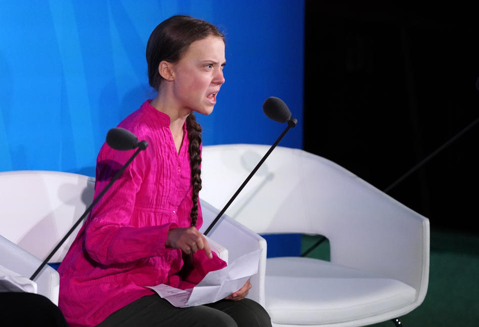 Sixteen-year-old Swedish climate activist Greta Thunberg speaks at the 2019 United Nations Climate Action Summit at U.N. headquarters in New York City, New York, U.S., September 23, 2019. REUTERS/Carlo Allegri