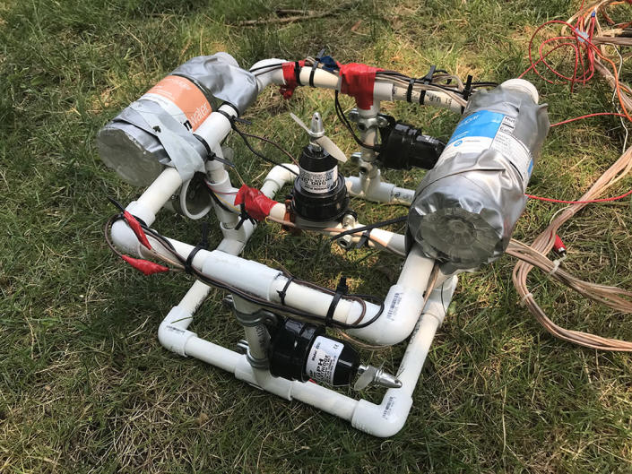 One of the ROVs students at Shipwreck Camp made to try to film either of two ships sunk in Lake Erie off Kelleys Island. (Patrick O'Donnell)
