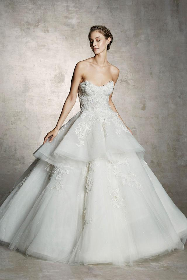 <p>Strapless, full-skirt gown. (Photo: Courtesy of Marchesa) </p>