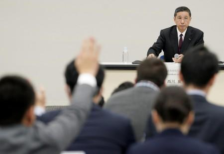 Nissan President and Chief Executive Officer Hiroto Saikawa attends a news conference at the company headquarters in Yokohama