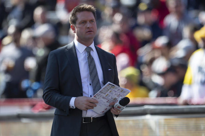 Todd McShay an American football television analyst and commentator stands on the field during the first half of the game between the Maryland Terrapins and the Michigan Wolverines at Capital One Field at Maryland Stadium. Mandatory Credit: Tommy Gilligan-USA TODAY Sports