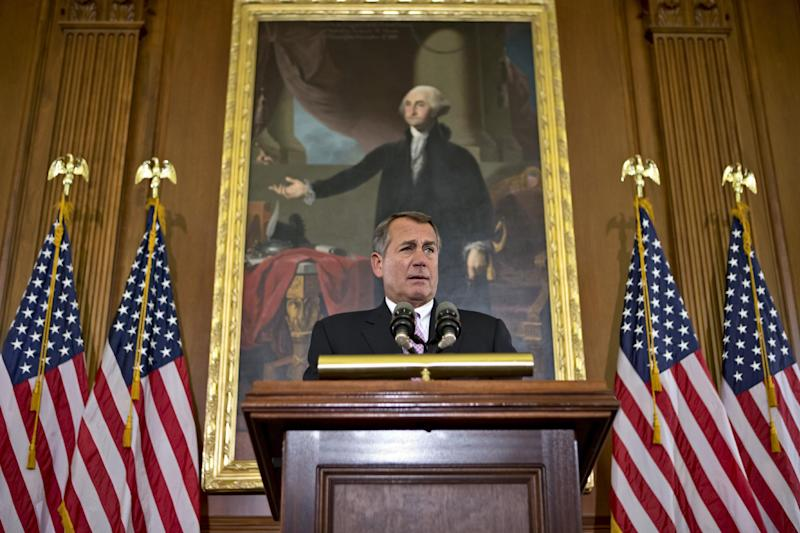 """In this Nov. 7, 2012, photo House Speaker John Boehner, R-Ohio, talks about the elections and the unfinished business of Congress at the Capitol in Washington. President Barack Obama is setting out to leverage his re-election into legislative success in an upcoming showdown with congressional Republicans over taxes, deficits and the impending """"fiscal cliff."""" Boehner says Republicans are willing to consider some form of higher tax revenue as part of the solution _ but only under what he calls """"the right conditions."""" (AP Photo/J. Scott Applewhite)"""
