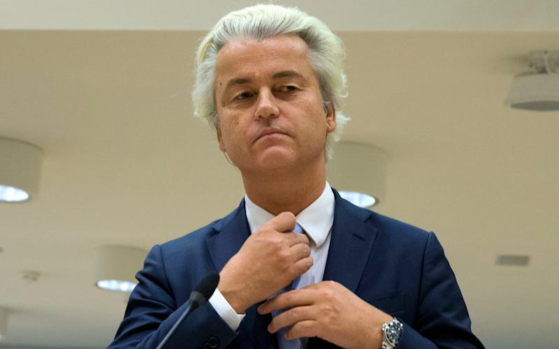 Populist anti-Islam lawmaker Geert Wilders prepares to address judges at the high-security court near Schiphol Airport, Amsterdam