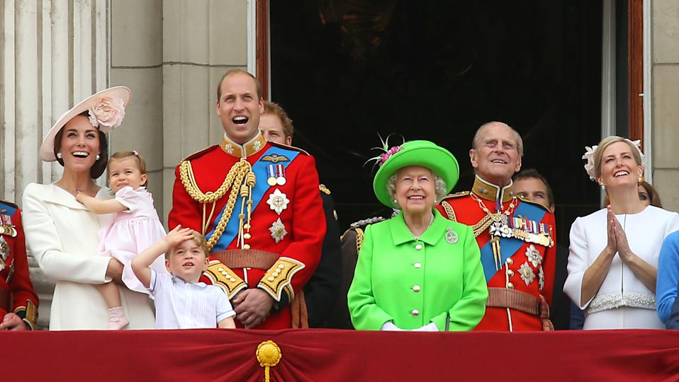 One-year-old Princess Charlotte attends her first Trooping the Colour with the Duke and Duchess of Cambridge and big brother Prince George. The Queen, Duke of Edinburgh and Countess of Wessex stand alongside them. (PA Images)