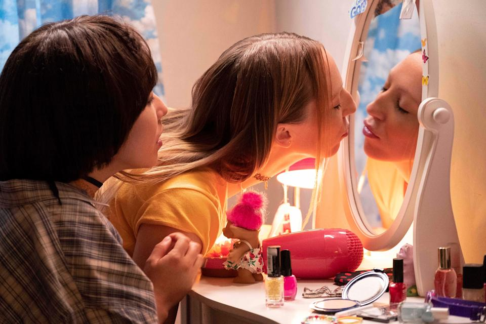 """Maya Erskine, left, and Anna Konkle play middle-school versions of themselves in Hulu's """"PEN15."""""""