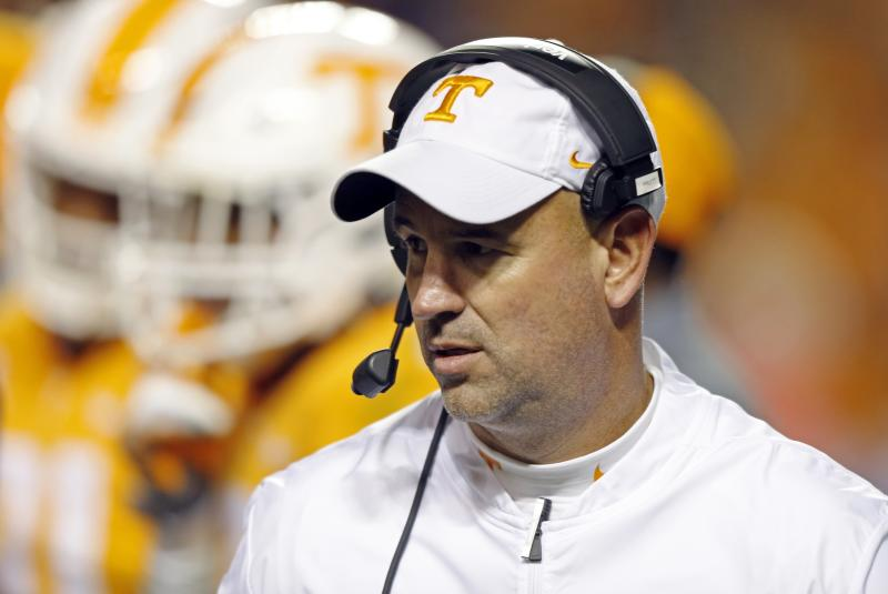 Tennessee head coach Jeremy Pruitt is seen in the second half against Kentucky on Saturday, Nov. 10, 2018, in Knoxville.