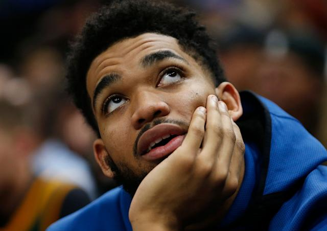 Karl-Anthony Towns said he's lucky to be alive after a scary car accident with a semi-truck. (AP Photo/Rick Bowmer)