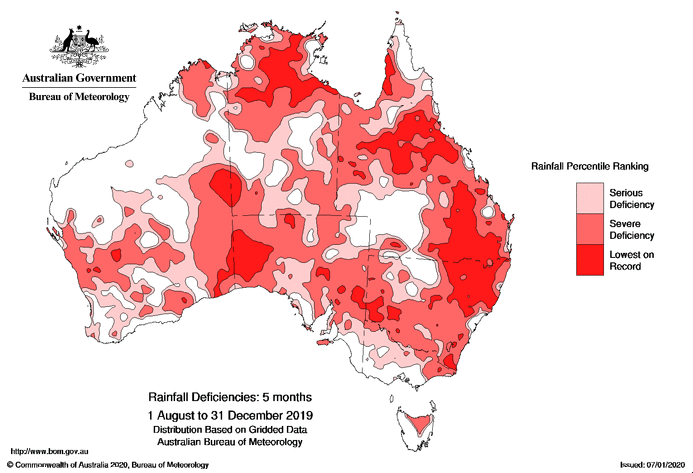 An alarming Bureau of Meteorology weather map shows the levels of rainfall 'deficiency' across Australia.