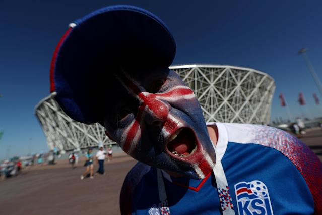 Soccer Football - World Cup - Group D - Nigeria vs Iceland - Volgograd Arena, Volgograd, Russia - June 22, 2018 Iceland fan outside the stadium before the match REUTERS/Sergio Perez TPX IMAGES OF THE DAY