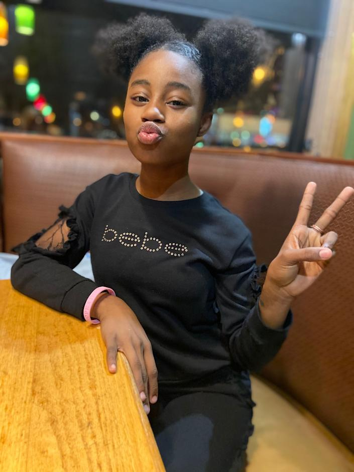 Amaria Jones, 13, poses for a picture. Jones was fatally shot inside her South Austin home over Father's Day weekend while showing her mother a TikTok dance.