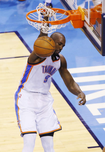 Serge Ibaka dunks against the Golden State Warriors during Game 6 of the West finals. (AP)