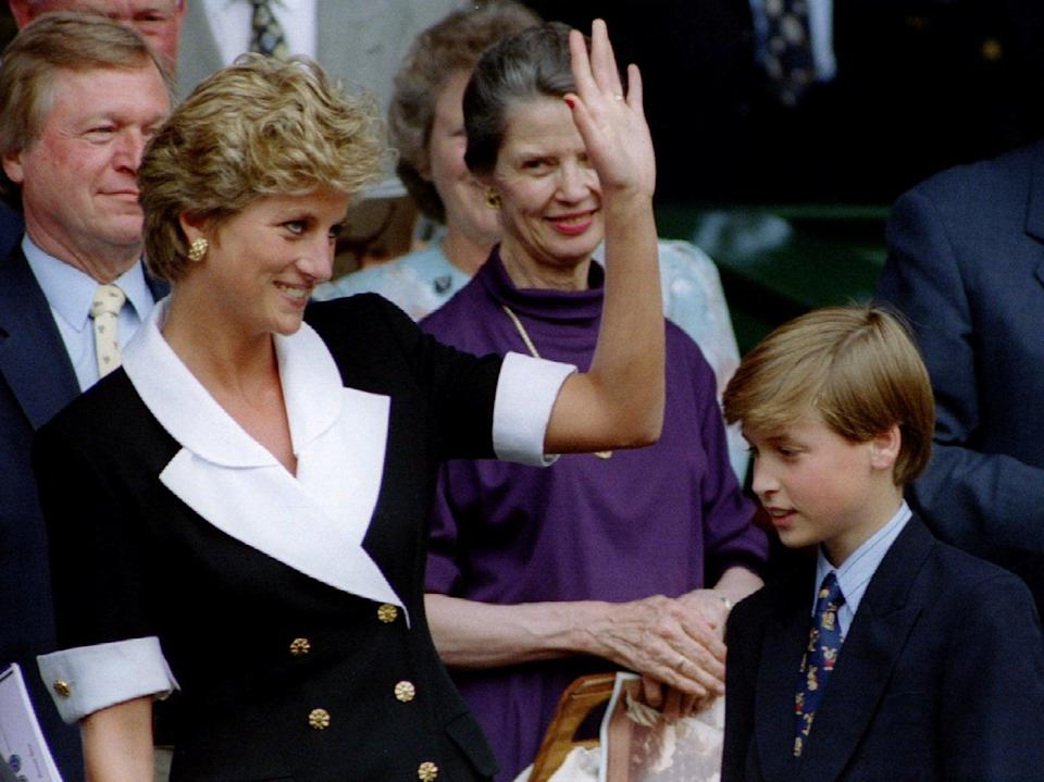Diana, Princess of Wales, accompanied by Prince William, arrives at Wimbledon's Centre CourtReuters