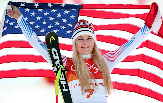 <p><strong>THE GOOD</strong><br>Lindsey Vonn:<br>Bronze medallist Lindsey Vonn of the United States celebrates during the victory ceremony for the Ladies' Downhill in PyeongChang. Lindsey put a feather in her cap by adding her second career bronze medal to go along with her Olympic gold medal in 2010. Vonn is the most decorated women's skier in US history, winning two World Championships and 81 total World Cup first-place finishes (Getty Images) </p>