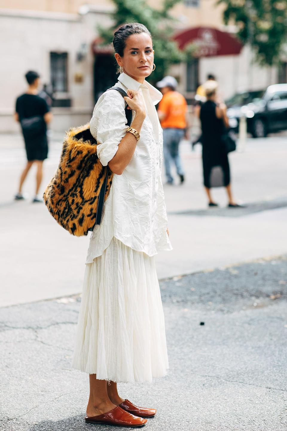 <p>Pair white on white separates for a breezy look. </p>