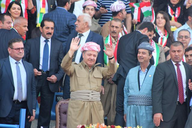 President of Iraqi Kurdish Regional Government (IKRG) Masoud Barzani, center, greets the crowd during a meeting within the referendum campaigns at a stadium in Dahuk, Iraq, on Sept. 16, 2017. (Photo: Azad Muhammed/Anadolu Agency/Getty Images)