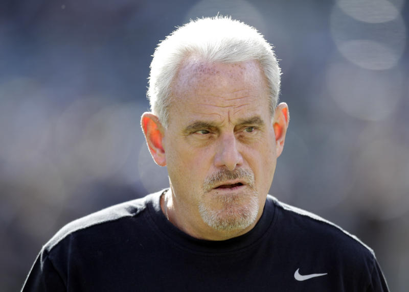 FILE - In this Nov. 18, 2012, file photo, New Orleans Saints head coach Joe Vitt appears during the first quarter of an NFL football game against the Oakland Raiders in Oakland, Calif. Former New Orleans defensive coordinator Gregg Williams said at an appeals hearing in the Saints bounty case that he tried to shut down the team's pay-for-pain system when the NFL began investigating but was overruled by Vitt, according to transcripts of the session that were obtained by The Associated Press on Wednesday, Dec. 12. (AP Photo/Ben Margot, File)