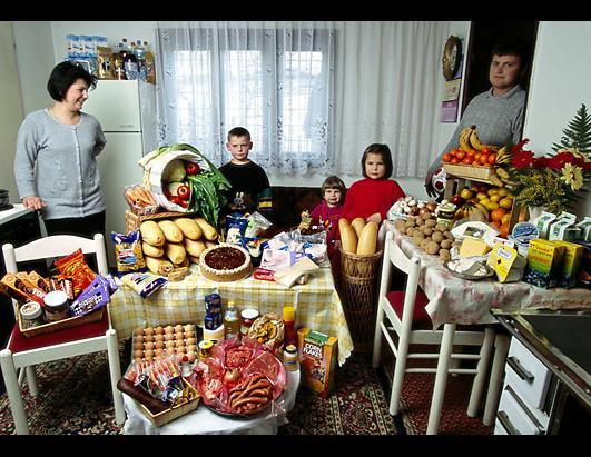 The Dudo family in their living room with a week's worth of food in Sarajevo, Bosnia. The family spend $167.43 a week on groceries. They cook with an electric stove, and a coal/wood stove, and have a refrigerator-freezer.  The photo series by Peter Menzel depicts a week's worth of eating for each family