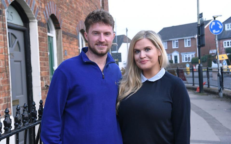 Michael Farrelly, 32, and Jade Sims, 31, say getting a 95pc mortgage means they can finally stop renting - JAY WILLIAMS