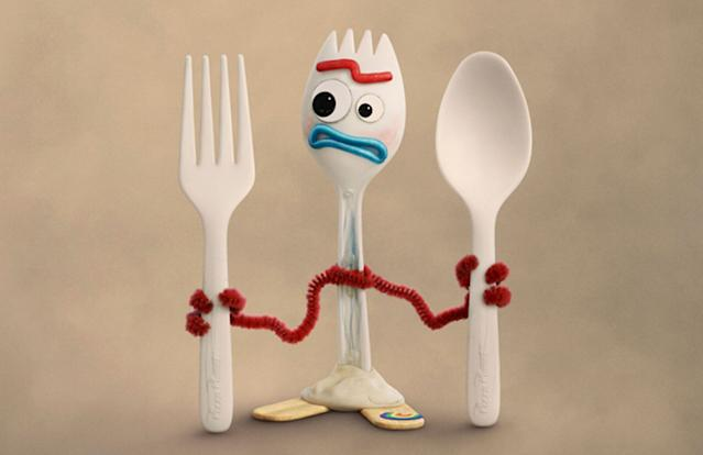 A close up of Forky in his own <i>Toy Story 4</i> character poster. (Disney/Pixar)