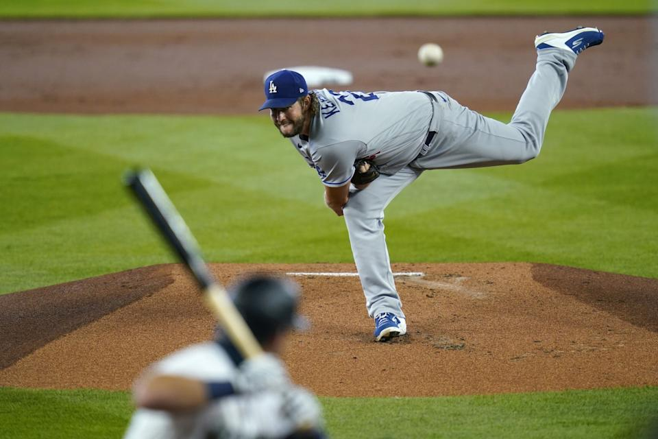 """Clayton Kershaw pitches to Seattle Mariners' Dylan Moore on Aug. 20. <span class=""""copyright"""">(Elaine Thompson / Associated Press)</span>"""