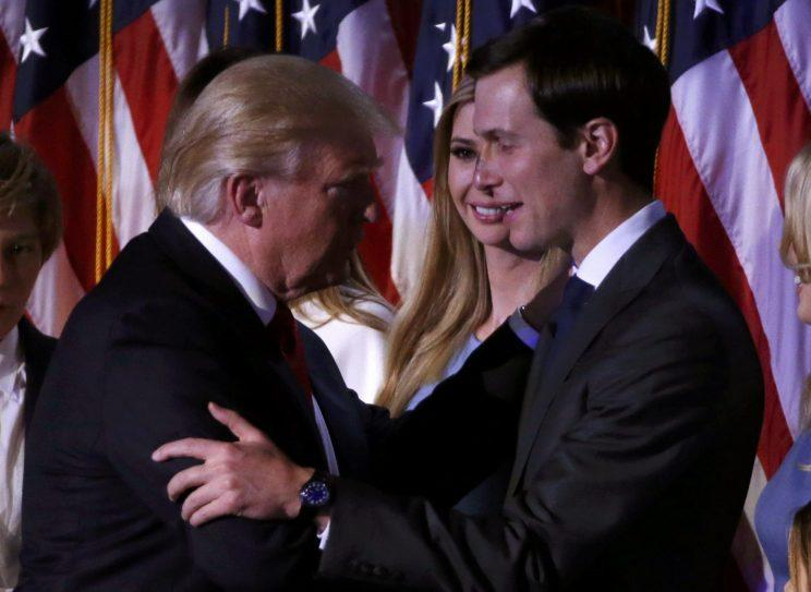 President-elect Donald Trump greets his daughter, Ivanka, and son-in-law, Jared Kushner, at his election night rally in Manhattan, Nov. 9, 2016. (Jonathan Ernst/Reuters)