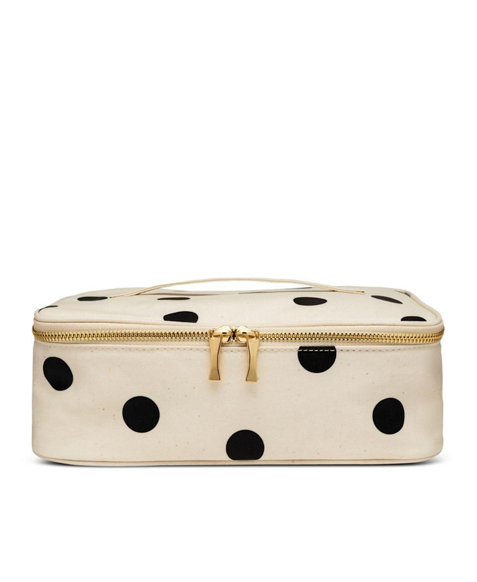 """<p><strong>Kate Spade New York</strong></p><p>bloomingdales.com</p><p><strong>$30.00</strong></p><p><a href=""""https://go.redirectingat.com?id=74968X1596630&url=https%3A%2F%2Fwww.bloomingdales.com%2Fshop%2Fproduct%2Fkate-spade-new-york-deco-dot-insulated-lunch-carrier%3FID%3D2894103&sref=https%3A%2F%2Fwww.seventeen.com%2Flife%2Ffood-recipes%2Fg28212497%2Fcute-lunch-boxes%2F"""" rel=""""nofollow noopener"""" target=""""_blank"""" data-ylk=""""slk:Shop Now"""" class=""""link rapid-noclick-resp"""">Shop Now</a></p><p>Leftovers, makeup, your massive scrunchie collection – use this carrier for all of the above.</p>"""