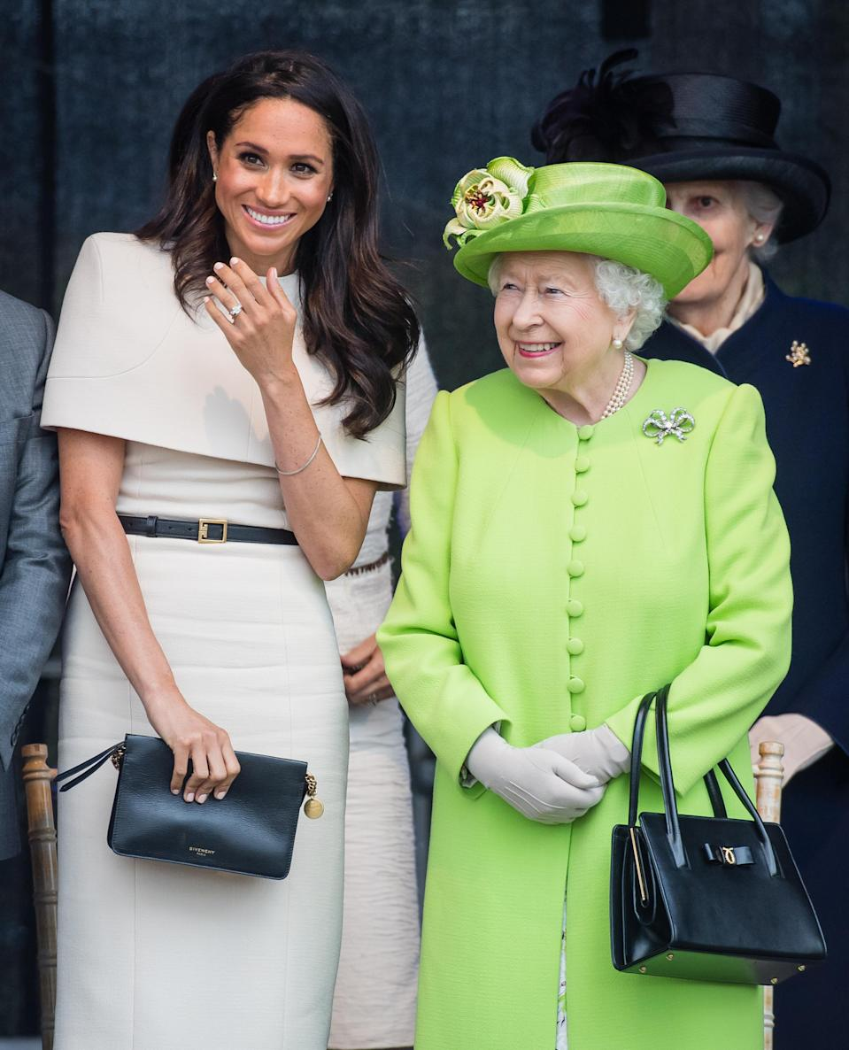 This marked the first time the duchess traveled with the queen without other royals. (Photo: Samir Hussein/Samir Hussein/WireImage)