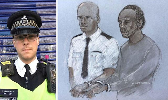Muhammad Rodwan, 56, right, has gone on trial for the attempted murder of PC Stuart Outten (PA)