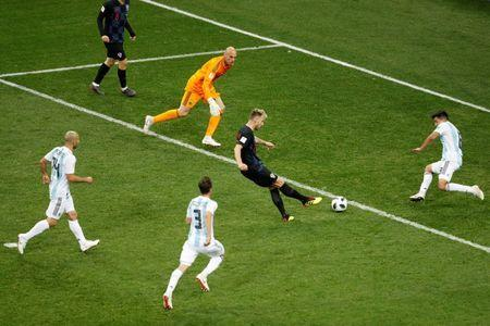 Croatia's Ivan Rakitic scores their third goal. REUTERS/Carlos Barria