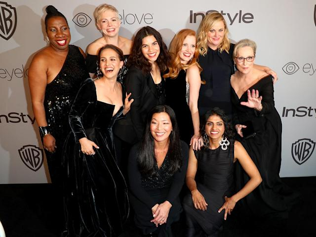 <p>Very special plus-ones! Natalie Portman, Michelle Williams, America Ferrera, Jessica Chastain, Amy Poehler, and Meryl Streep pose with the activists — Rosa Clemente, Ai-jen Poo, and Saru Jayaraman — that several of them brought as their guests to the 2018 InStyle and Warner Bros. Golden Globe Awards Post-Party. (Photo: Joe Scarnici/Getty Images for InStyle) </p>