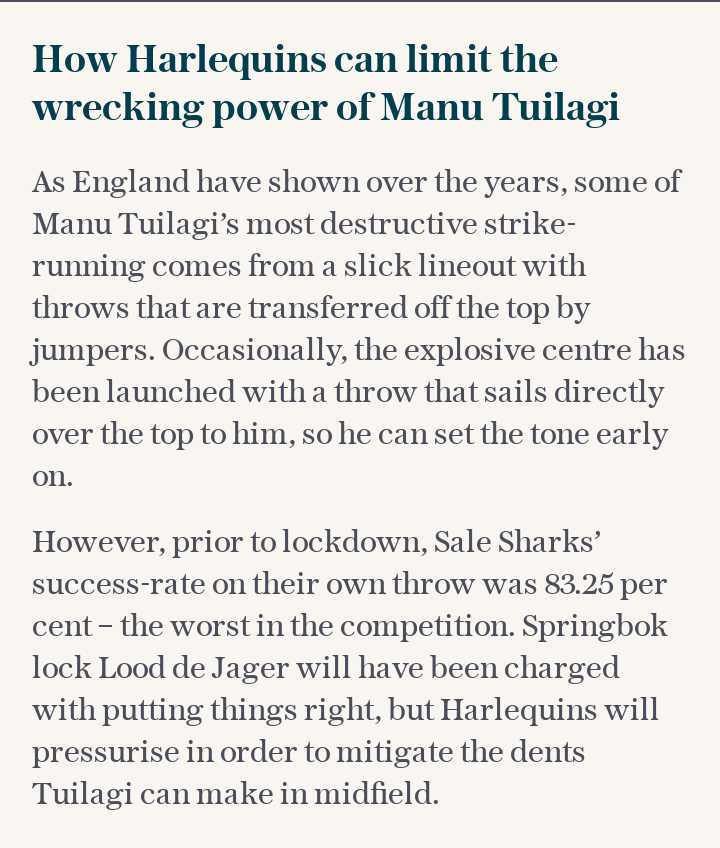 How Harlequins can limit the wrecking power of Manu Tuilagi