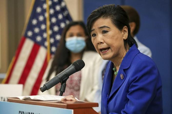Los Angeles, CA - July 15: Congresswoman Judy Chu talks about the expanded Child Tax Credit at a press conference held at Barrio Action Youth and Family Center on Thursday, July 15, 2021 in Los Angeles, CA. (Irfan Khan / Los Angeles Times)