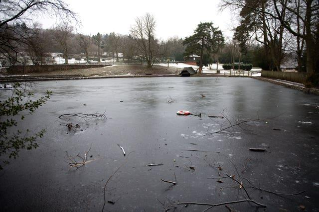 A frozen lake in the Lickey Hills area of Birmingham