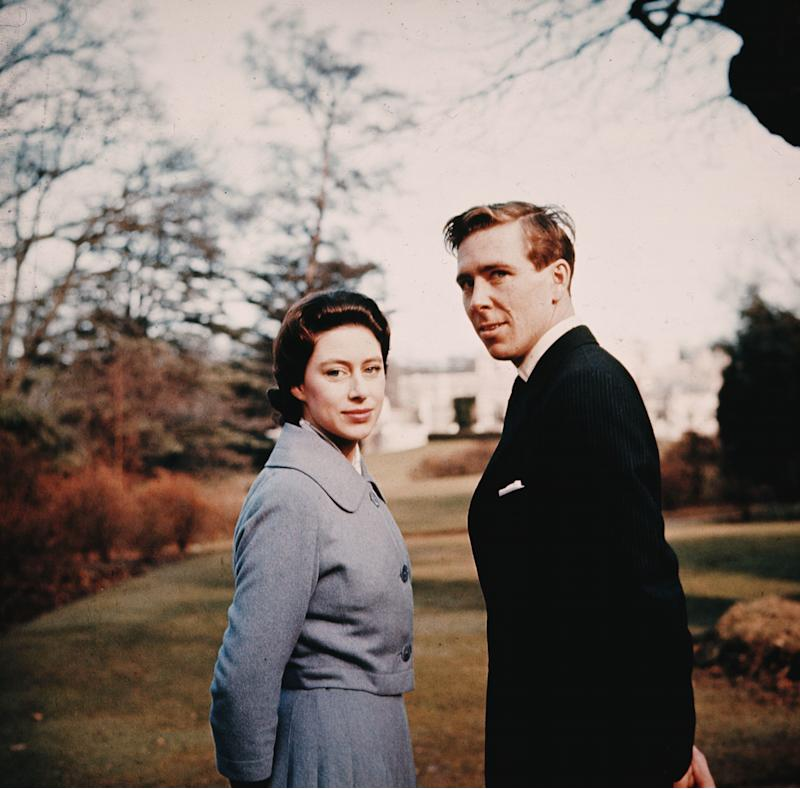 Princess Margaret and Antony Armstrong-Jones in the grounds of Royal Lodge after they announced their engagement. Photo by Hulton Archive via Getty Images.