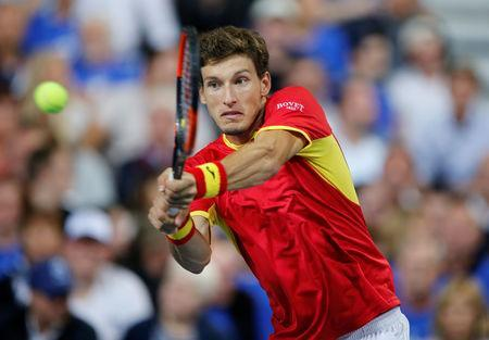 Tennis - Davis Cup - World Group Semi-Final - France v Spain - Stade Pierre Mauroy, Lille, France - September 14, 2018 Spain's Pablo Carreno Busta in action during his match against France's Benoit Paire REUTERS/Pascal Rossignol