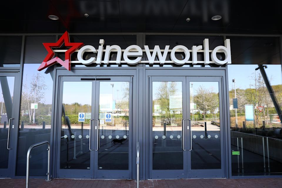 SOUTHAMPTON,  - APRIL 19: A Cineworld cinema is seen closed due to the current coronavirus (COVID-19) pandemic on April 19, 2020 in Southampton, England. In a press conference on Thursday, First Secretary of State Dominic Raab announced that the lockdown will remain in place for at least 3 more weeks. The Coronavirus (COVID-19) pandemic has spread to many countries across the world, claiming over 160,000 lives and infecting more than 2.3 million people. (Photo by Naomi Baker/Getty Images)