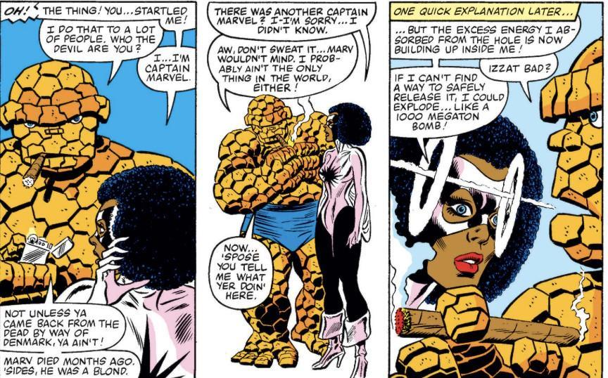 Thing explains the legacy of the name Captain Marvel to Monica Rambeau.
