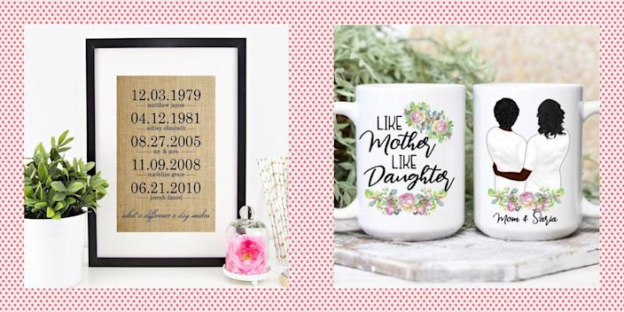 """<p>Mother's Day shopping can be stressful, especially when you want to find <a href=""""https://www.womansday.com/life/g26963417/personalized-mothers-day-gifts/"""" rel=""""nofollow noopener"""" target=""""_blank"""" data-ylk=""""slk:a gift for your mom"""" class=""""link rapid-noclick-resp"""">a gift for your mom</a> (or wife, <a href=""""https://www.womansday.com/life/g3212/best-grandma-gift-ideas/"""" rel=""""nofollow noopener"""" target=""""_blank"""" data-ylk=""""slk:grandma"""" class=""""link rapid-noclick-resp"""">grandma</a>, <a href=""""https://www.womansday.com/life/g19843084/gifts-for-mother-in-law/"""" rel=""""nofollow noopener"""" target=""""_blank"""" data-ylk=""""slk:mother-in-law"""" class=""""link rapid-noclick-resp"""">mother-in-law</a>, aunt, etc.) that's as unique and special as she is. Luckily, sites like Amazon and Etsy (along with a few others) have just the ticket. Below, we found some of the <strong>best Mother's Day gift ideas</strong> that will impress every mom, including the one who says she has everything. Sure, you could go with some <a href=""""https://go.redirectingat.com?id=74968X1596630&url=https%3A%2F%2Fwww.1800flowers.com%2Fmothers-day-flowers&sref=https%3A%2F%2Fwww.womansday.com%2Flife%2Fg36267034%2Fmothers-day-gift-ideas%2F"""" rel=""""nofollow noopener"""" target=""""_blank"""" data-ylk=""""slk:Mother's Day flowers"""" class=""""link rapid-noclick-resp"""">Mother's Day flowers</a> and <a href=""""https://www.womansday.com/home/crafts-projects/g2309/free-printable-mothers-day-cards/"""" rel=""""nofollow noopener"""" target=""""_blank"""" data-ylk=""""slk:a homemade card"""" class=""""link rapid-noclick-resp"""">a homemade card</a> if you're really in a pinch (<em>ahem</em> <a href=""""https://www.womansday.com/relationships/family-friends/g27191135/last-minute-mothers-day-gifts/"""" rel=""""nofollow noopener"""" target=""""_blank"""" data-ylk=""""slk:you last-minute shoppers"""" class=""""link rapid-noclick-resp"""">you last-minute shoppers</a>), but many of these presents will come just in time — if not sooner — and with a bigger wow factor. </p><p>So whether you want to get the special woman in your li"""