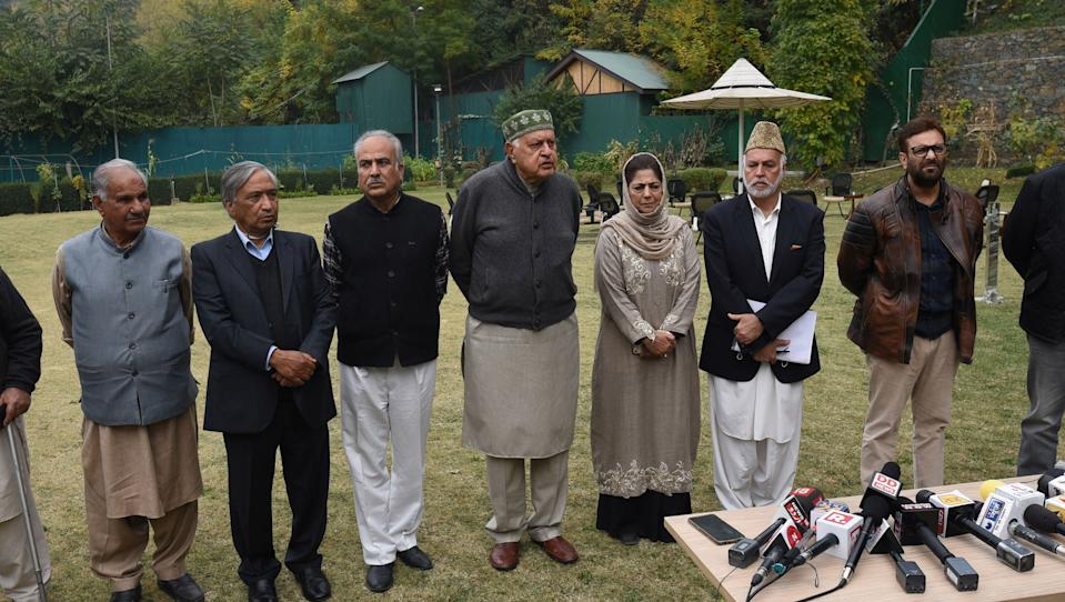 National Conference President and Member of Parliament Farooq Abdullah and others at the residence of Peoples Democratic Party (PDP) President and former Chief Minister Mehbooba Mufti during a meeting on October 24, 2020 in Srinagar. (Photo by Waseem Andrabi/Hindustan Times via Getty Images)