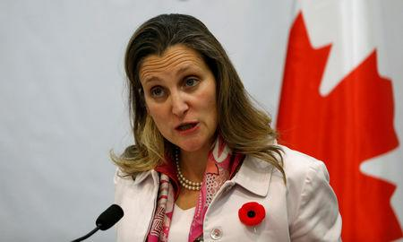 FILE PHOTO - Canadian Foreign Minister Chrystia Freeland attends a joint news conference with Palestinian Foreign Minister Riyad al-Maliki  in Ramallah, in the occupied West Bank