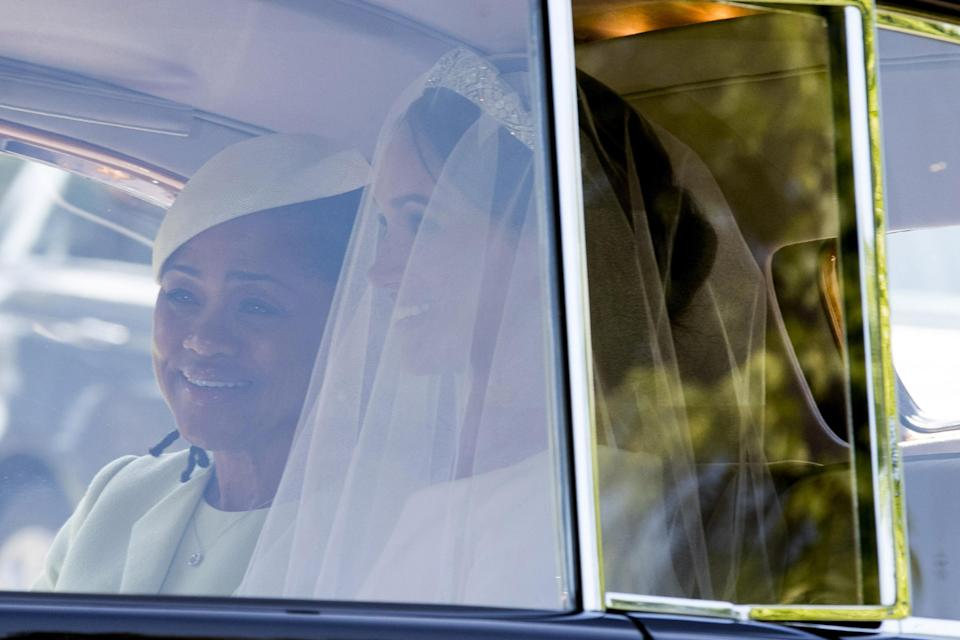<p>Meghan Markle wore the Queen Mary Diamond Bandeau Tiara, which is on loan from the queen and rarely worn. (Photo: Phil Harris – WPA Pool/Getty Images) </p>