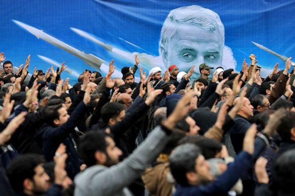 PHOTO: Protesters demonstrate over the U.S. airstrike in Iraq that killed Iranian Revolutionary Guard Gen. Qassem Soleimani in Tehran, Iran, Saturday Jan. 4, 2020. (Ebrahim Noroozi/AP)