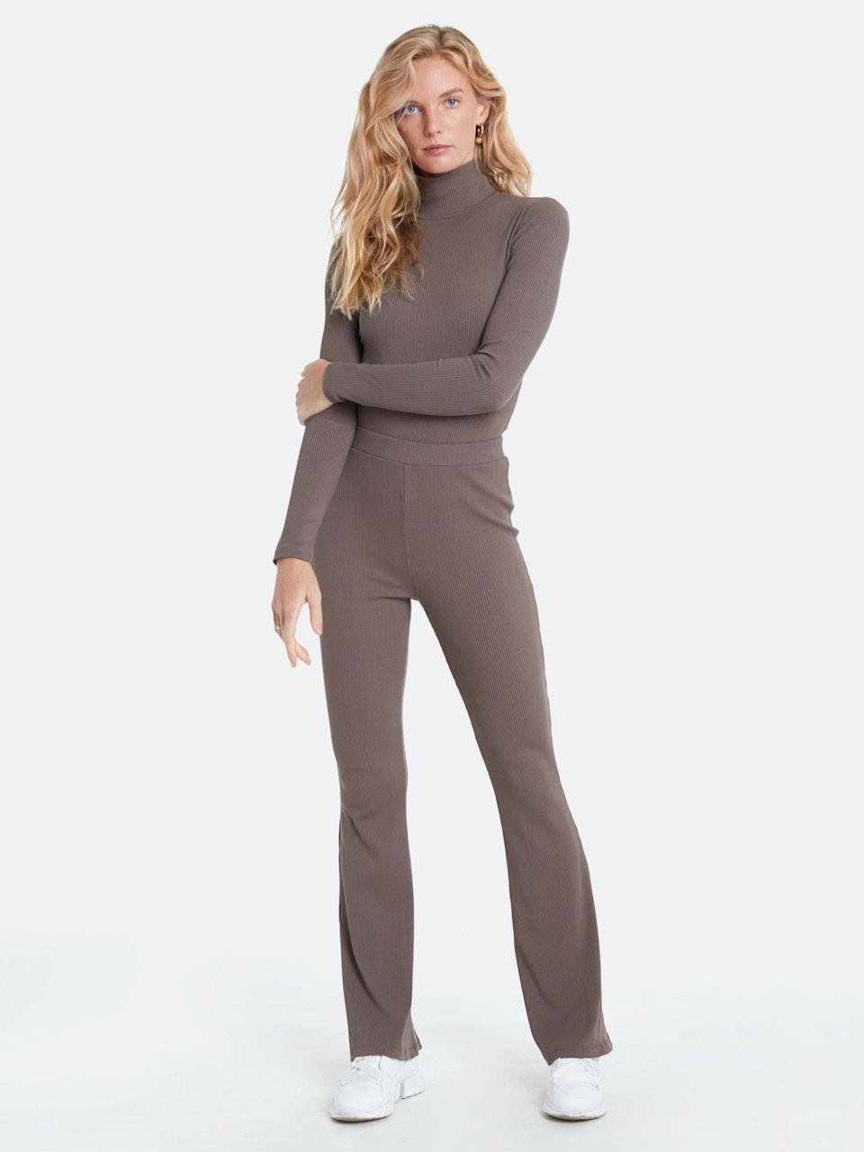 <p>You can't go wrong with these ultra comfy <span>LETT Rhodes Rib Flare Pants</span> ($88).</p>