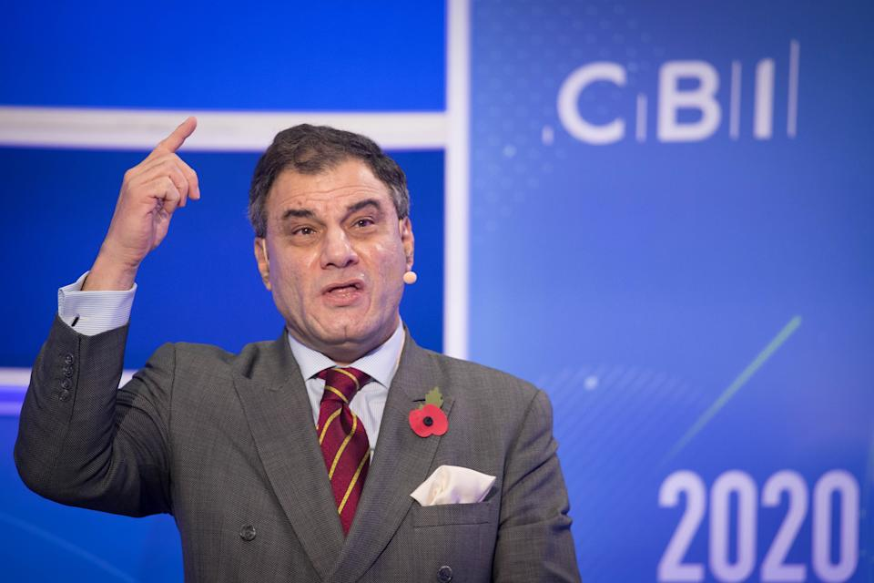 President of the CBI, Lord Karan Bilimoria makes his keynote speech to the CBI annual conference at ITN Headquarters in central London. (Photo by Stefan Rousseau/PA Images via Getty Images)