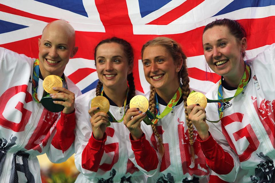 Laura Kenny and her team-mates Joanna Rowsell Shand, Elinor Barker, Katie Archibald set the world record at the Rio Games in 2016 (David Davies/PA) (PA Archive)