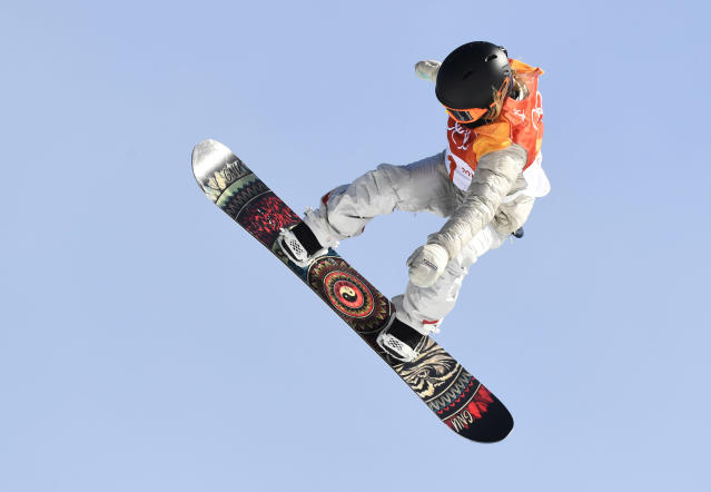 <p>Gold medalist Jamie Anderson of the United States in action during the Snowboard Ladies' Slopestyle Final on day three of the PyeongChang 2018 Winter Olympic Games at Phoenix Snow Park. February 12, 2018. (Photo by Hyoung Chang/The Denver Post via Getty Images) </p>