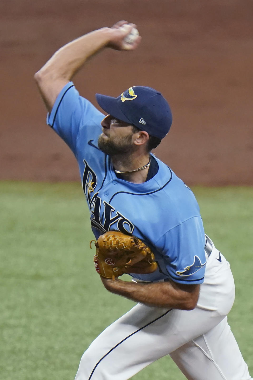 Tampa Bay Rays' Michael Wacha pitches to the New York Yankees during the third inning of a baseball game Sunday, April 11, 2021, in St. Petersburg, Fla. (AP Photo/Chris O'Meara)