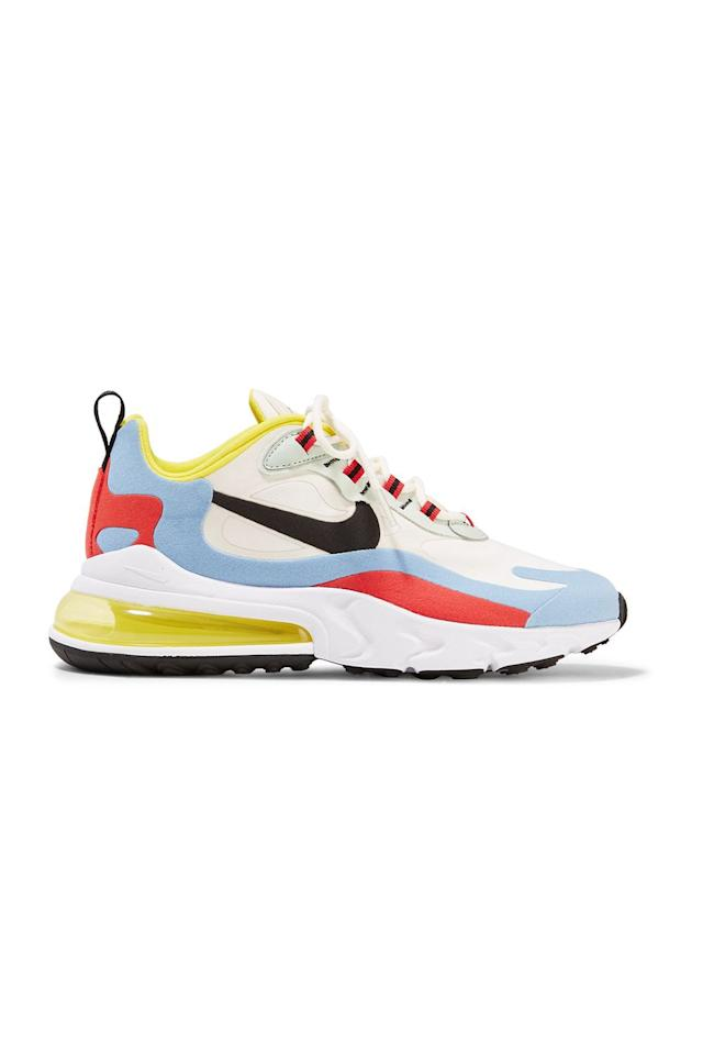 "<p><strong>Nike</strong></p><p>net-a-porter.com</p><p><strong>$150.00</strong></p><p><a href=""https://go.redirectingat.com?id=74968X1596630&url=https%3A%2F%2Fwww.net-a-porter.com%2Fus%2Fen%2Fproduct%2F1155752&sref=http%3A%2F%2Fwww.marieclaire.com%2Ffashion%2Fg26930582%2Fchunky-sneakers%2F"" target=""_blank"">SHOP IT</a></p><p>For a dad sneaker that actually looks like a dad sneaker (without borrowing your pop's), try these multi-colored kicks from Nike. The hues were inspired by art—and, most recently, the ladies on The <a href=""https://twitter.com/USWNT/status/1131904363360923648?ref_src=twsrc%5Etfw%7Ctwcamp%5Etweetembed%7Ctwterm%5E1131904363360923648&ref_url=https%3A%2F%2Fwww.nicekicks.com%2Fnike-air-max-270-react-release-date%2F"" target=""_blank"">U.S. Women's soccer team </a>wore them with sweats. This will look just as casual, if not cooler, with your slip dress or billowy maxi skirt.</p>"