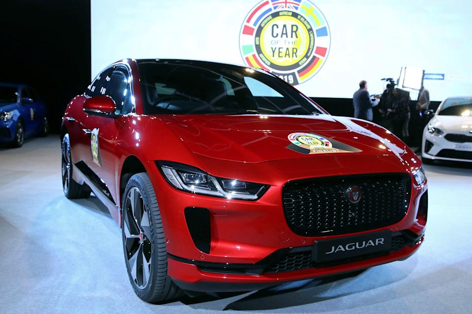 Car of the Year 2019 winner, Jaguar I-Pace, is seen during the award ceremony ahead of the 89th Geneva International Motor Show in Geneva, Switzerland March 4, 2019. REUTERS/Denis Balibouse